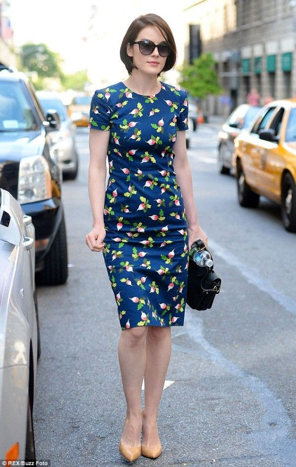 Michelle Dockery in Carolina Herrera dress @ 2013 US Open