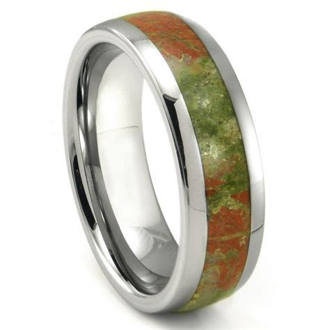 Tungsten Carbide Green & Red Unakite Inlay Dome Wedding