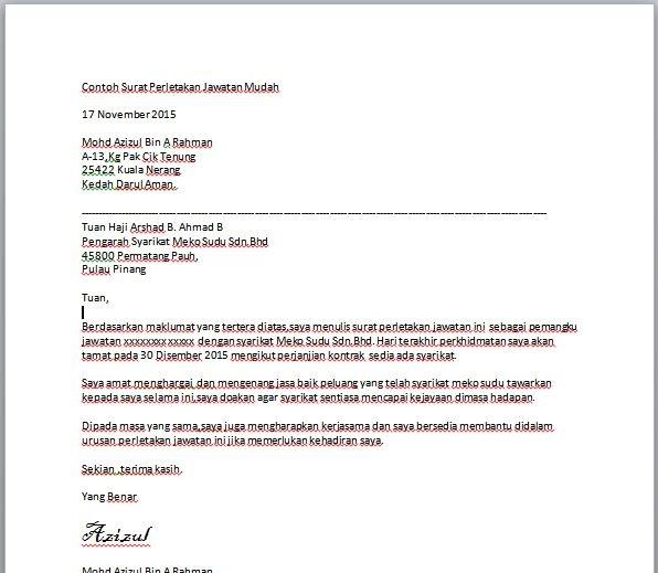 Surat Rasmi Perletakan Jawatan Kerajaan Rasmi F