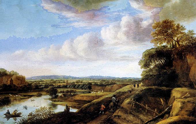 Paisaje de río, flamenco holandés por Van Ruysdael.