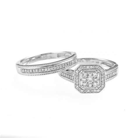 Ladies 9ct White Gold 1/3 Carat Square Diamond Cluster