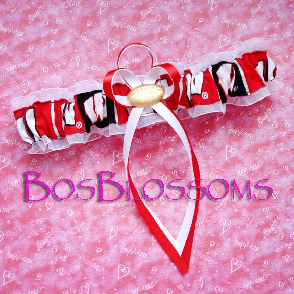 University of WISCONSIN BADGERS block fabric handcrafted football armband wedding bridal garter