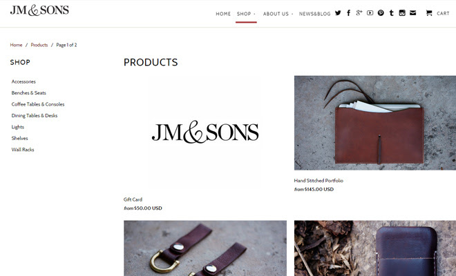 jm and sons website fullscreen shopify design