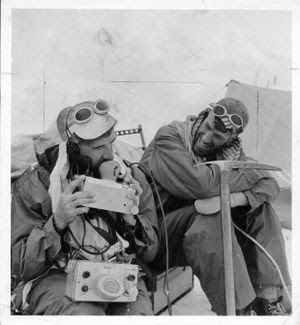 George Lowe (left) and Edmund Hillary relax at camp near the Lhotse Face, during their 1953 Everest Expedition