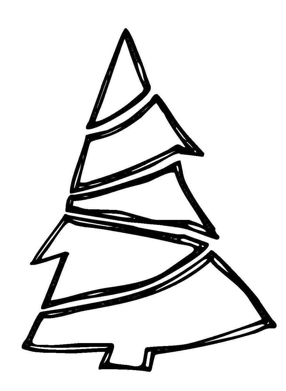 Ausmalbild Weihnachten Weihnachtsbaum mit Girlande kostenlos ausdrucken