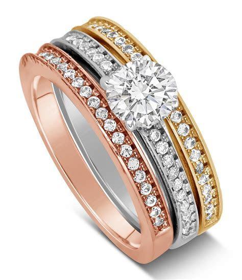 2 Carat Round cut Tri Color White, Rose and Yellow Gold