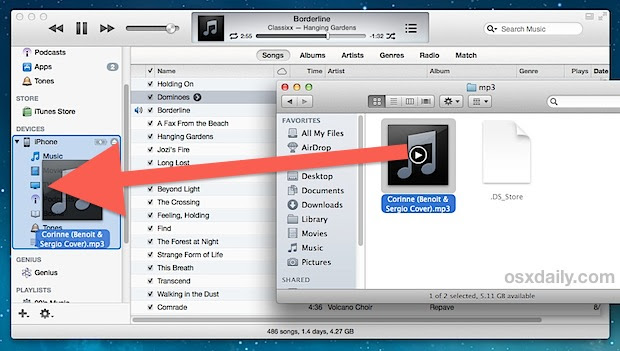 Copy a song to an iPhone / iPod without adding to iTunes library