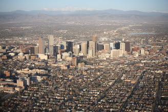 Denver Sunrise Aerial 32 min after sunrise