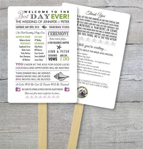 DIY   Wedding Program Fan Kit, Best Day Ever, Order Of