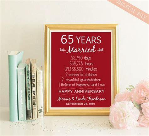 65th Anniversary Gift   65 years Wedding Anniversary