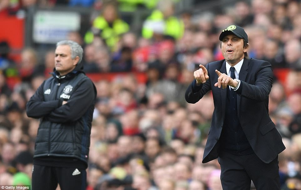 Antonio Conte, who opted for the suit and cap look at Old Trafford, was the more animated of the two managers