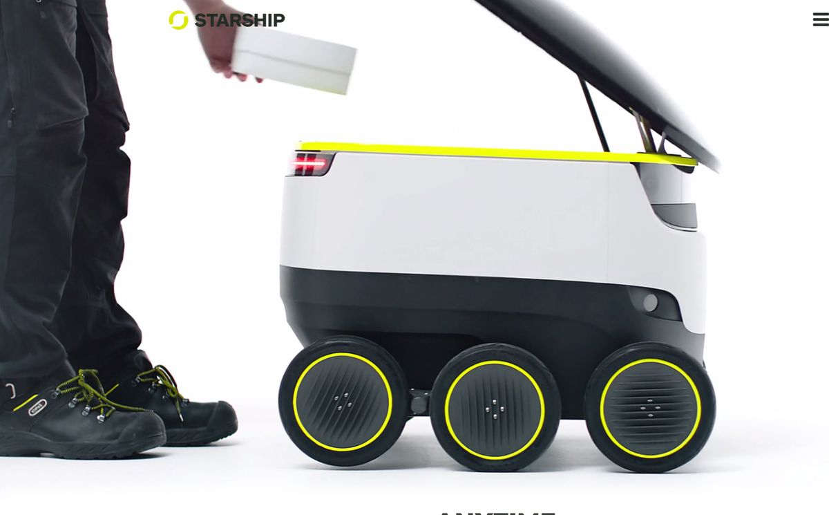 The Starship Technologies robot will deliver stuff to your doorstep.