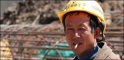 Chinese workman on site in Addis Ababa