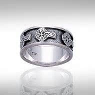 Peter Stone Jewelry Celtic Rings with Celtic Cross