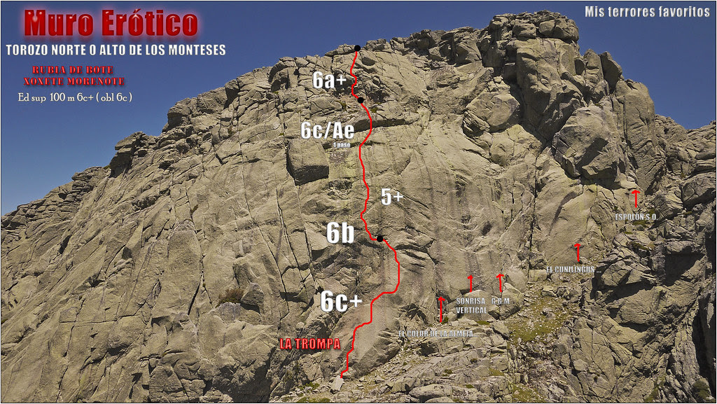 croquis RUBIA DE BOTE ...XOXETE MORENOTE 100 m EDsup 6c+ (6c obl) - TOROZO NORTE o ALTO DE LOS MONTESES 2021m