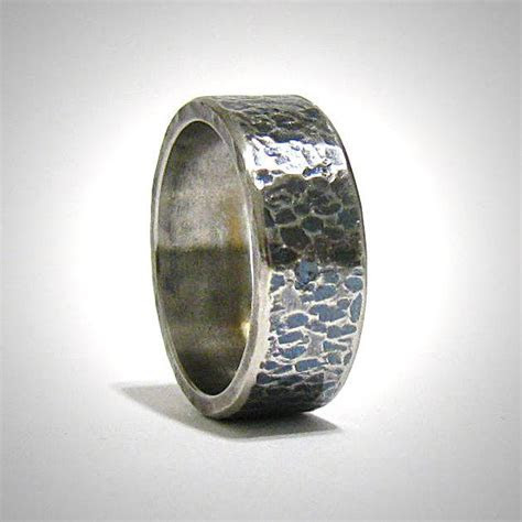 Mens 8mm Wide Rustic Hammered Oxidized Stainless Steel