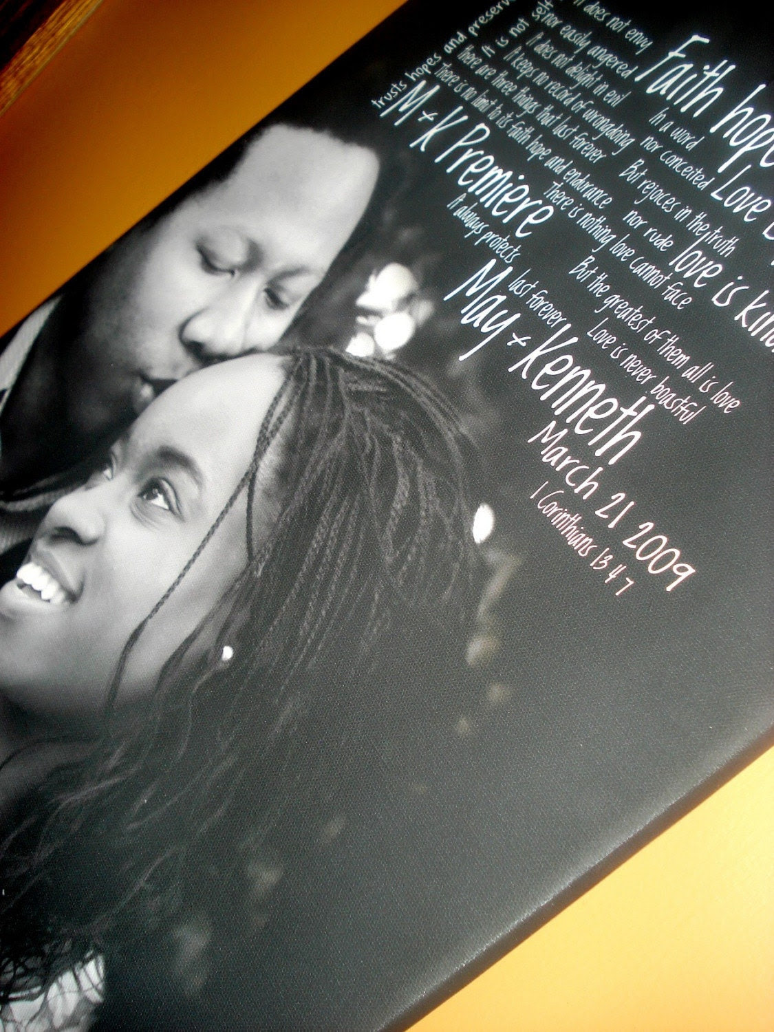 Large Custom Canvas Your Wedding Photo and Words/vows/lyrics  14x25 inches