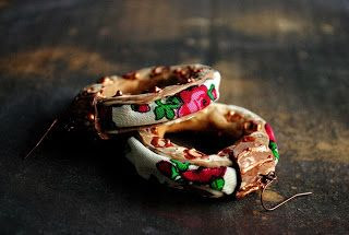bohemian sin: gipsy roses printed cotton statement earrings