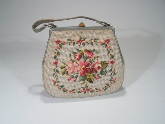 Beautiful vintage light grey handbag with floral needlepoint. #vintage #purses #handbags #accessories