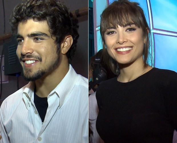 Caio Castro e Maria Casadevall dão entrevista nos bastidores (Foto: Domingão do Faustão / TV Globo)