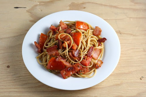 Pasta with Bacon, Rosemary, and Tomatoes