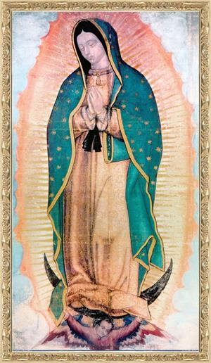 34 By 60 Antique Gold Framed Canvas Our Lady Of Guadalupe Image