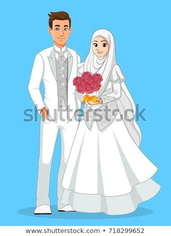 Muslim Wedding Couple White Suit Stock Vector (Royalty