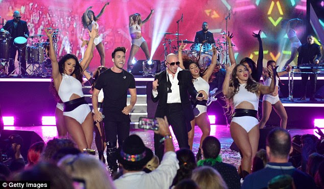 The host: Pitbull performed onstage along with Prince Royce