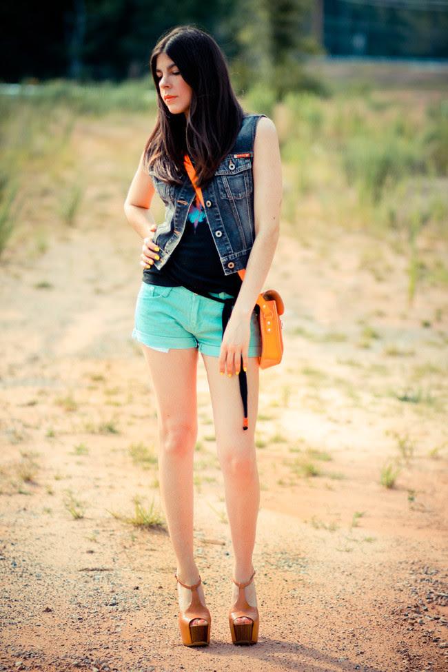 Cambridge Leather neon satchel, Neon nails, Jessica Simpson Dany platforms, Outfit, Fashion, Guess denim vest