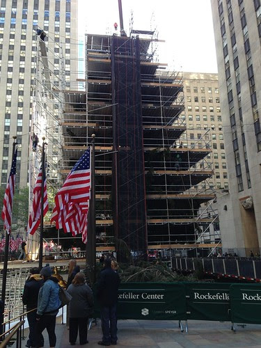 Rockefeller Center tree rising