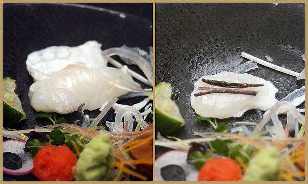 Fugu sashimi - it's a blast with the tiny strips of konbu!