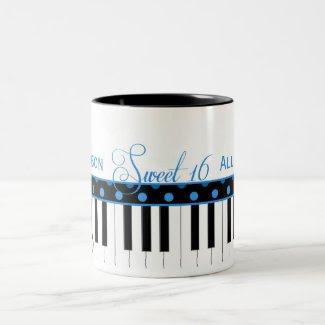 Blue and Black Piano Theme Sweet 16 Coffee Mug