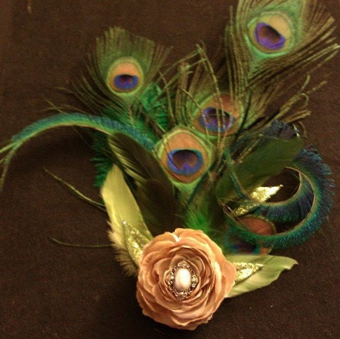 Hollywood Glam Peacock feather bridal fascinator 1920s flapper girl