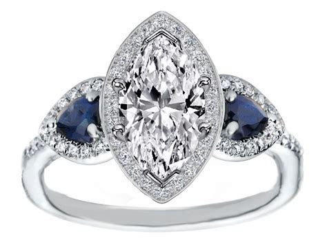Marquise Diamond Halo Engagement Ring Pear Shape Blue