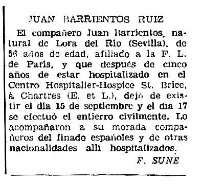 "Necrològica de Juan Barrientos Ruiz apareguda en el periòdic parisenc ""Solidaridad Obrera"" del 2 d'octubre de 1958"