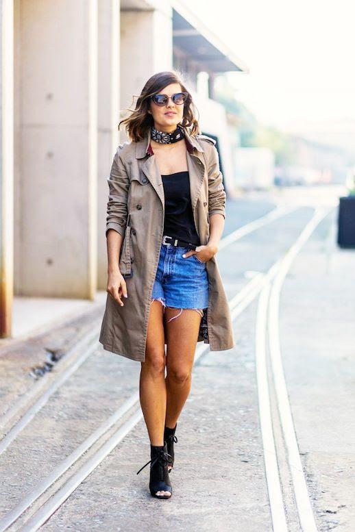 Le Fashion Blog Blogger Street Style Bandana Neck Scarf Trench Coat Black Silk Cami Top Denim Cut Off Shorts Open Toe Booties Via Popsugar