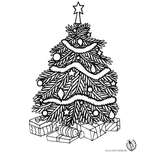 Disegno Di Albero Di Natale Con Regali Da Colorare Per Bambini