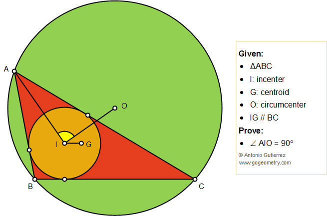 Geometry Problem 1438: Triangle, Incenter, Centroid, Circumcenter, Parallel, 90 Degree, Art, Poster, iPad apps, Tutoring.