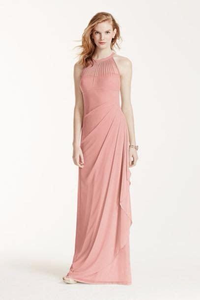 David's Bridal: Long Mesh Dress with Illusion Neckline