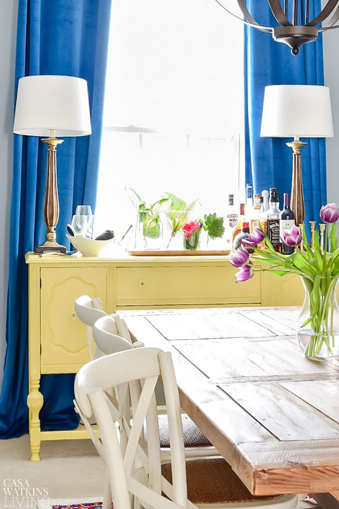 Cool Blue Dining Room Drapes images
