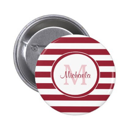 Trendy Red and White Stripes Monogram and Name 2 Inch Round Button