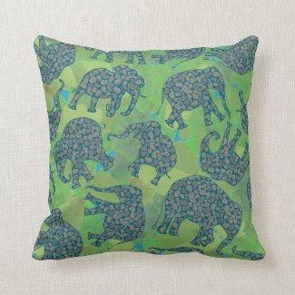 Fun Paisley Elephants, Jungle Green Leaves Pillow