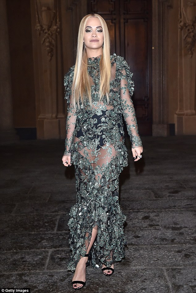 Hot right now: Rita looked incredible in the intricately detailed gown which boasted a host of leaf details