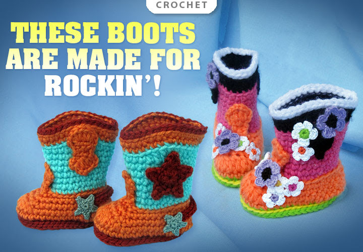 Rock-a-Billy Baby Boots -- These crochet boots are made for rockin'!