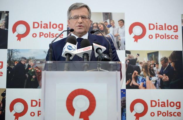 Prezydent Bronisław Komorowski w trakcie konferencji prasowej /Jacek Turczyk /PAP
