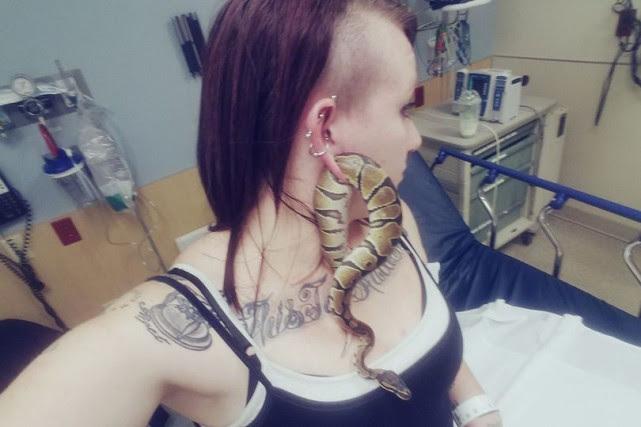 Le serpent d'Ashley Glawe s'est glissé dans l'anneau... (Facebook)