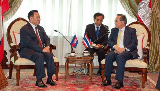 Chheang Vun (left) meets with Don Pramudwinai, Thailand's Minister of Foreign Affairs, earlier this month. Photo supplied