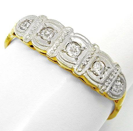 Foto 2, Toller Echt antiker Diamant-Ring 14K/585 Shop Portofrei, S8278
