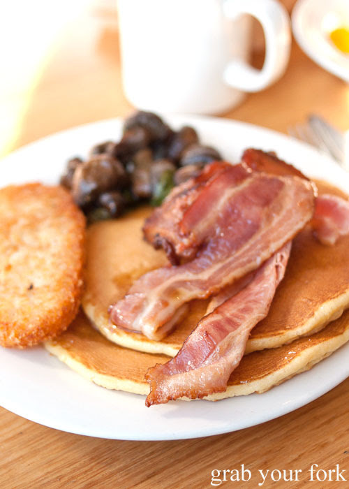 Pancakes, bacon, hash brown and mushrooms from the buffet breakfast at Aurora Ozone Hotel, Kingscote, Kangaroo Island