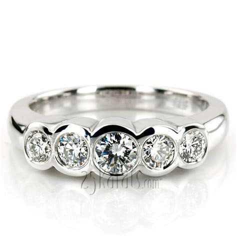 Bezel Set Five Stone Diamond Wedding Band (0.74 ct.tw)